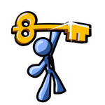 Clip Art Graphic of a Blue Guy Character Holding A Skeleton Key