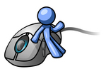 Clip Art Graphic of a Blue Guy Character Leaning Against A Computer Mouse And Waving