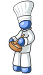 Clip Art Graphic of a Blue Guy Character Chef Stirring Food