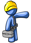 Clip Art Graphic of a Blue Guy Character Construction Worker