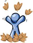 Clip Art Graphic of a Blue Guy Character Playing In Fall Leaves, Throwing Them Up In The Air On A Happy, Carefree Autumn Day