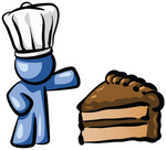 Clip Art Graphic of a Blue Guy Character Wearing A Chefs Hat And Showing Off A Tasty Frosted Slice Of Chocolate Cake