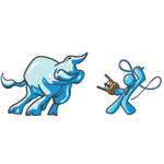 Clip Art Graphic of a Sky Blue Guy Character Battling a Bull With a Whip