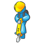 Clip Art Graphic of a Sky Blue Guy Character Operating a Yellow Jackhammer