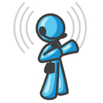 Clip Art Graphic of a Sky Blue Guy Character Speaking on a Headset With Waves