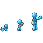 Clip Art Graphic of a Sky Blue Guy Character Growing From a Baby to a Man