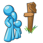Clip Art Graphic of a Sky Blue Guy Character and Child at a Crossroads