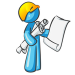 Clip Art Graphic of a Sky Blue Guy Character Holding Blueprints