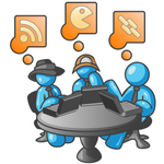 Clip Art Graphic of Sky Blue Guy Characters Working on Laptops at a Table