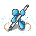 Clip Art Graphic of a Sky Blue Guy Character Drawing a Circle on Graph Paper