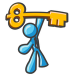 Clip Art Graphic of a Sky Blue Guy Character Holding up a Skeleton Key