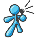 Clip Art Graphic of a Sky Blue Guy Character Speaking Through a Microphone
