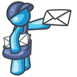 Clip Art Graphic of a Sky Blue Guy Character Delivering Mail