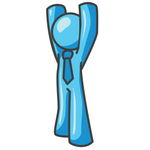 Clip Art Graphic of a Sky Blue Guy Character Holding His Arms Up
