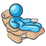 Clip Art Graphic of a Sky Blue Guy Character Relaxing in a Recliner Chair