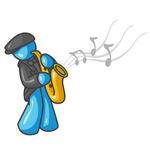 Clip Art Graphic of a Sky Blue Guy Character Playing Jazz With a Saxophone