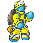 Clip Art Graphic of a Sky Blue Guy Character Fireman