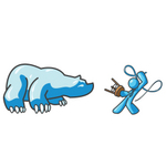 Clip Art Graphic of a Sky Blue Guy Character Taming a Bear With a Whip