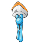 Clip Art Graphic of a Sky Blue Guy Character Holding up a House