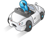 Clip Art Graphic of a Sky Blue Guy Character Driving and Talking on a Cell Phone