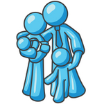 Clip Art Graphic of a Sky Blue Family Hugging