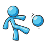 Clip Art Graphic of a Sky Blue Guy Character Kicking a Ball