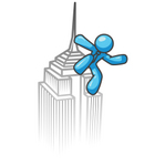Clip Art Graphic of a Sky Blue Guy Character on Top of a Skyscraper