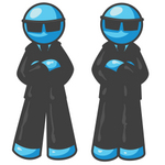 Clip Art Graphic of Sky Blue Guy Characters Wearing Shades and Guarding a Door