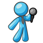Clip Art Graphic of a Sky Blue Guy Character Holding a Microphone