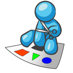 Clip Art Graphic of a Sky Blue Guy Character Cutting Out Shapes