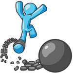 Clip Art Graphic of a Sky Blue Guy Character Breaking Free From a Chain and Ball