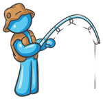 Clip Art Graphic of a Sky Blue Guy Character Fishing