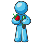 Clip Art Graphic of a Sky Blue Guy Character Holding Veggies