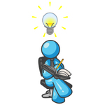 Clip Art Graphic of a Sky Blue Guy Character Writing Ideas Down