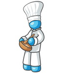 Clip Art Graphic of a Sky Blue Guy Character Chef Mixing Food in a Bowl