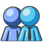 Clip Art Graphic of a Sky Blue Guy Character Boss With Employee