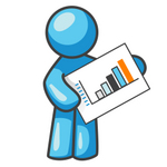 Clip Art Graphic of a Sky Blue Guy Character Holding a Bar Graph Chart