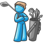 Clip Art Graphic of a Sky Blue Guy Character Golfing