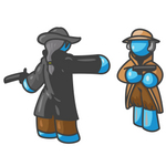 Clip Art Graphic of a Sky Blue Guy Character in a Duel
