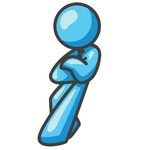 Clip Art Graphic of a Sky Blue Guy Character Leaning Against a Wall