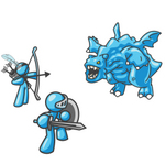 Clip Art Graphic of Sky Blue Guy Characters Killing a Dragon
