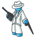 Clip Art Graphic of a Sky Blue Guy Character With a Can and Gun