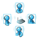 Clip Art Graphic of a Sky Blue Guy Character Having Conversations on a Bluetooth Headset
