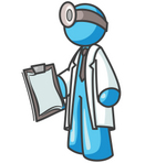 Clip Art Graphic of a Sky Blue Guy Character Doctor Carrying a Clipboard