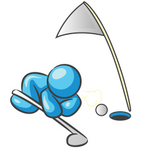 Clip Art Graphic of a Sky Blue Guy Character Trying to Blow a Golf Ball Into a Hole