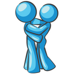 Clip Art Graphic of a Sky Blue Couple Hugging