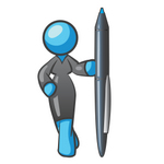 Clip Art Graphic of a Sky Blue Lady Character Standing With a Pen