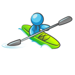 Clip Art Graphic of a Sky Blue Guy Character Kayaking