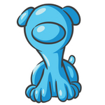 Clip Art Graphic of a Sky Blue Puppy Dog