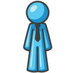 Clip Art Graphic of a Sky Blue Guy Character Standing